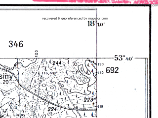 Reduced fragment of topographic map pl--wig--025k--P34S26-E--(1932)--N053-40_E018-00--N053-35_E018-10