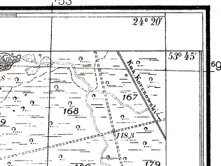 Reduced fragment of topographic map pl--wig--025k--P34S38-C--(1937)--N053-45_E024-10--N053-40_E024-20; towns and cities Ozery