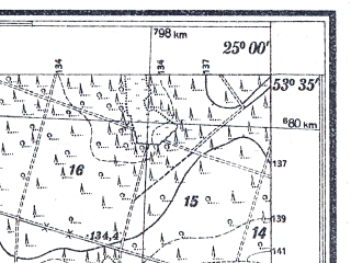 Reduced fragment of topographic map pl--wig--025k--P34S40-G--(1930)--N053-35_E024-50--N053-30_E025-00
