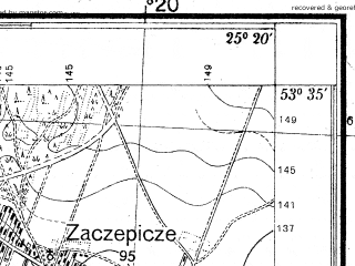 Reduced fragment of topographic map pl--wig--025k--P34S40-I--(1939)--N053-35_E025-10--N053-30_E025-20