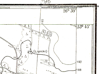 Reduced fragment of topographic map pl--wig--025k--P34S43-A--(1938)--N053-45_E026-20--N053-40_E026-30