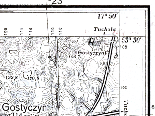 Reduced fragment of topographic map pl--wig--025k--P35S25-C--(1937)--N053-30_E017-40--N053-25_E017-50