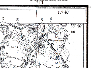 Reduced fragment of topographic map pl--wig--025k--P35S25-H--(1937)--N053-20_E017-30--N053-15_E017-40