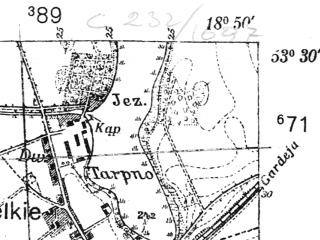 Reduced fragment of topographic map pl--wig--025k--P35S27-C--(1939)--N053-30_E018-40--N053-25_E018-50; towns and cities Grudziadz