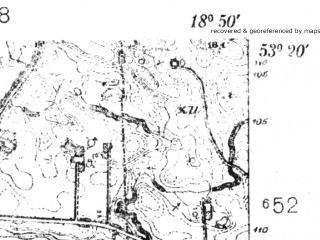 Reduced fragment of topographic map pl--wig--025k--P35S27-I--(1935)--N053-20_E018-40--N053-15_E018-50