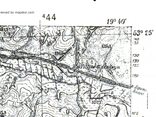Reduced fragment of topographic map pl--wig--025k--P35S29-E--(1939)--N053-25_E019-30--N053-20_E019-40