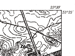 Reduced fragment of topographic map pl--wig--025k--P35S37-D--(1931)--N053-25_E023-20--N053-20_E023-30; towns and cities Sokolka