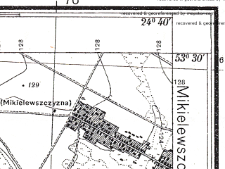 Reduced fragment of topographic map pl--wig--025k--P35S39-B--(1934)--N053-30_E024-30--N053-25_E024-40; towns and cities Mosty