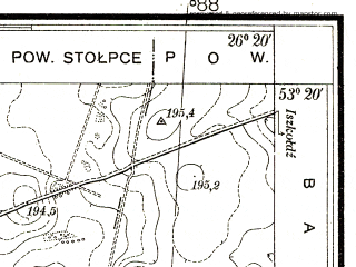 Reduced fragment of topographic map pl--wig--025k--P35S42-I--(1938)--N053-20_E026-10--N053-15_E026-20
