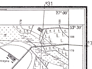 Reduced fragment of topographic map pl--wig--025k--P35S44-A--(1934)--N053-30_E026-50--N053-25_E027-00