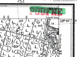 Reduced fragment of topographic map pl--wig--025k--P36S23-F--(1935)--N053-10_E016-40--N053-05_E016-50; towns and cities Pila