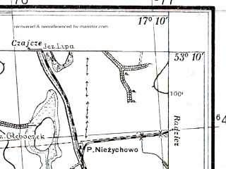 Reduced fragment of topographic map pl--wig--025k--P36S24-E--(1939)--N053-10_E017-00--N053-05_E017-10