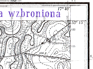 Reduced fragment of topographic map pl--wig--025k--P36S25-B--(1939)--N053-15_E017-30--N053-10_E017-40