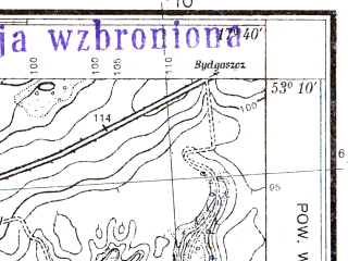 Reduced fragment of topographic map pl--wig--025k--P36S25-E--(1939)--N053-10_E017-30--N053-05_E017-40; towns and cities Naklo Nad Notecia