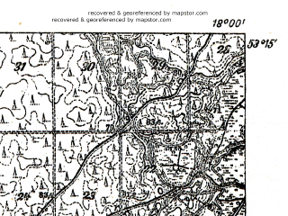 Reduced fragment of topographic map pl--wig--025k--P36S26-A--(1932)--N053-15_E017-50--N053-10_E018-00