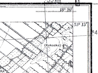 Reduced fragment of topographic map pl--wig--025k--P36S26-C--(1933)--N053-15_E018-10--N053-10_E018-20
