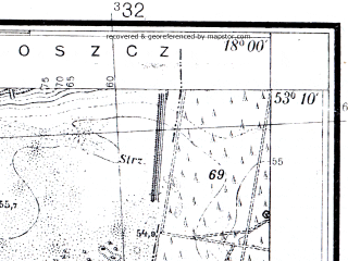 Reduced fragment of topographic map pl--wig--025k--P36S26-D--(1933)--N053-10_E017-50--N053-05_E018-00; towns and cities Bydgoszcz