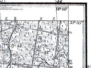 Reduced fragment of topographic map pl--wig--025k--P36S26-G--(1933)--N053-05_E017-50--N053-00_E018-00