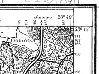Reduced fragment of topographic map pl--wig--025k--P36S31-B--(1931)--N053-15_E020-30--N053-10_E020-40