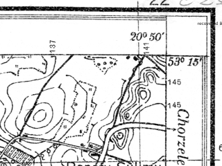Reduced fragment of topographic map pl--wig--025k--P36S31-C--(1931)--N053-15_E020-40--N053-10_E020-50