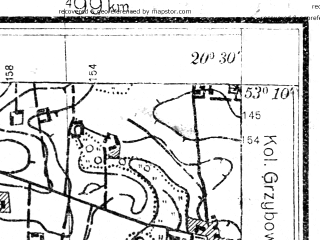 Reduced fragment of topographic map pl--wig--025k--P36S31-D--(1931)--N053-10_E020-20--N053-05_E020-30; towns and cities Mlawa