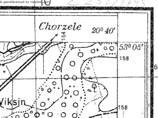 Reduced fragment of topographic map pl--wig--025k--P36S31-H--(1931)--N053-05_E020-30--N053-00_E020-40