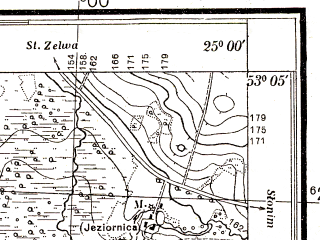 Reduced fragment of topographic map pl--wig--025k--P36S40-G--(1932)--N053-05_E024-50--N053-00_E025-00