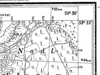 Reduced fragment of topographic map pl--wig--025k--P36S41-A--(1938)--N053-15_E025-20--N053-10_E025-30