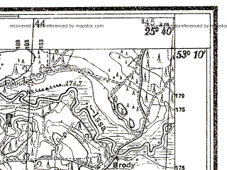 Reduced fragment of topographic map pl--wig--025k--P36S41-E--(1938)--N053-10_E025-30--N053-05_E025-40