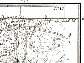 Reduced fragment of topographic map pl--wig--025k--P36S42-B--(1938)--N053-15_E026-00--N053-10_E026-10