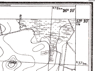 Reduced fragment of topographic map pl--wig--025k--P36S42-E--(1938)--N053-10_E026-00--N053-05_E026-10; towns and cities Baranovichi