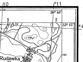 Reduced fragment of topographic map pl--wig--025k--P36S43-B--(1934)--N053-15_E026-30--N053-10_E026-40; towns and cities Nesvizh
