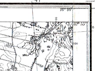 Reduced fragment of topographic map pl--wig--025k--P37S23-E--(1934)--N052-55_E016-30--N052-50_E016-40; towns and cities Czarnkow
