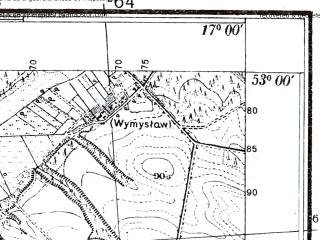 Reduced fragment of topographic map pl--wig--025k--P37S24-A--(1934)--N053-00_E016-50--N052-55_E017-00