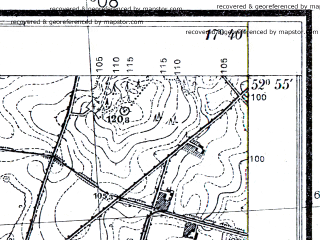 Reduced fragment of topographic map pl--wig--025k--P37S25-E--(1934)--N052-55_E017-30--N052-50_E017-40
