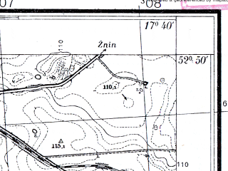 Reduced fragment of topographic map pl--wig--025k--P37S25-H--(1934)--N052-50_E017-30--N052-45_E017-40