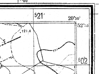 Reduced fragment of topographic map pl--wig--025k--P37S31-F--(1952)--N052-55_E020-40--N052-50_E020-50