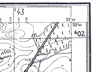 Reduced fragment of topographic map pl--wig--025k--P37S32-E--(1952)--N052-55_E021-00--N052-50_E021-10; towns and cities Makow Mazowiecki