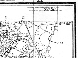 Reduced fragment of topographic map pl--wig--025k--P37S34-F--(1933)--N052-55_E022-10--N052-50_E022-20