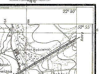 Reduced fragment of topographic map pl--wig--025k--P37S35-E--(1933)--N052-55_E022-30--N052-50_E022-40