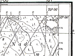 Reduced fragment of topographic map pl--wig--025k--P37S40-A--(1933)--N053-00_E024-50--N052-55_E025-00