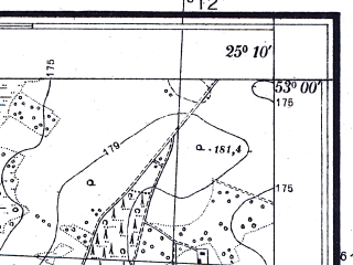 Reduced fragment of topographic map pl--wig--025k--P37S40-B--(1932)--N053-00_E025-00--N052-55_E025-10