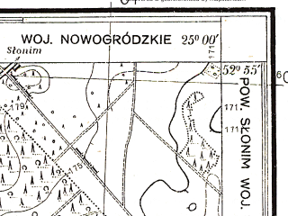 Reduced fragment of topographic map pl--wig--025k--P37S40-D--(1932)--N052-55_E024-50--N052-50_E025-00; towns and cities Ruzhany
