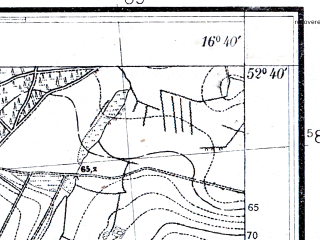 Reduced fragment of topographic map pl--wig--025k--P38S23-E--(1931)--N052-40_E016-30--N052-35_E016-40; towns and cities Szamotuly