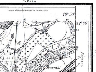 Reduced fragment of topographic map pl--wig--025k--P38S23-F--(1931)--N052-40_E016-40--N052-35_E016-50; towns and cities Oborniki