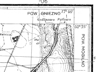 Reduced fragment of topographic map pl--wig--025k--P38S25-H--(1934)--N052-35_E017-30--N052-30_E017-40; towns and cities Gniezno