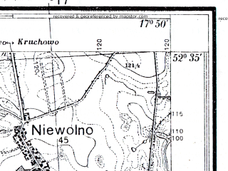 Reduced fragment of topographic map pl--wig--025k--P38S25-I--(1934)--N052-35_E017-40--N052-30_E017-50