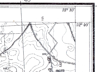 Reduced fragment of topographic map pl--wig--025k--P38S26-E--(1934)--N052-40_E018-00--N052-35_E018-10