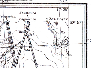 Reduced fragment of topographic map pl--wig--025k--P38S26-F--(1934)--N052-40_E018-10--N052-35_E018-20; towns and cities Strzelno