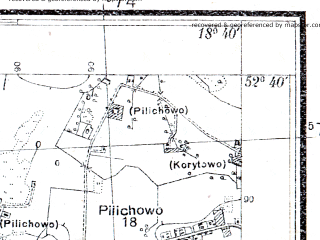 Reduced fragment of topographic map pl--wig--025k--P38S27-E--(1936)--N052-40_E018-30--N052-35_E018-40; towns and cities Radziejow